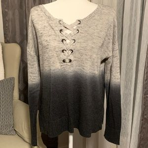 American Eagle Color Fade Lace Up Sweater